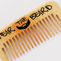 Original Beard comb handmade engraved Personalized wood comb Fear the beard wooden comb mustache comb woodburning Gift for Him Gift for man