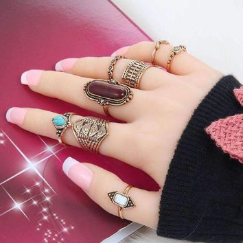 8 pcs. Antigue Boho  Women Rings Set Fashion Jewelry