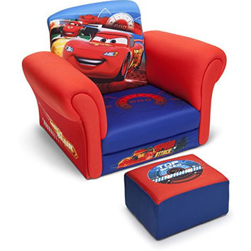 Delta Children Upholstered Chair with Ottoman, Disney/Pixar Cars