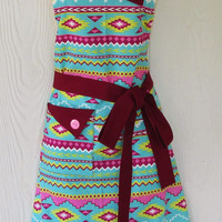 Colorful Aztec Print Apron - Tribal Print, Ethnic - Teal, Burgundy, Retro Style, Full Apron, KitschNStyle