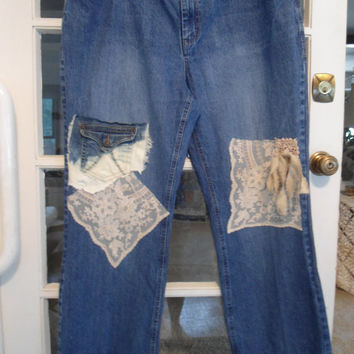 Reserved for Kathleen          Plus Size 20 Upcycled Lace and Pockets Boho Shabby Chic Jeans