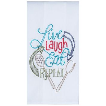 Flour Sack Towel - Live Laugh