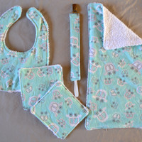 Flannel & Terry Cloth Baby Gift Set - Bib/Burp Cloth/Washcloths/Pacifier Clip - Teal Blue Cars