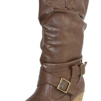 Shully's SK0115HU Brown Harness Western Knee Boots shop Boots at MakeMeChic.com