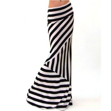 Asymmetric Striped Women Maxi Skirt