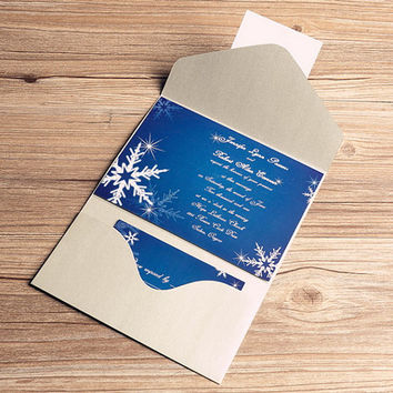Custom Winter wedding invitation kit with snowflake design – RSVP card, reception – blue and white, winter wedding EWPI045