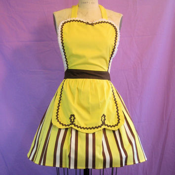 retro apron 50s Diner Waitress RETRO yellow by loverdoversclothing