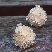 Flower Bouquet with Rhinestone Earrings light pink from topsales