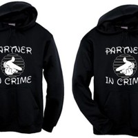 "Couples Valentine ""partner in crime"" Hoodie"