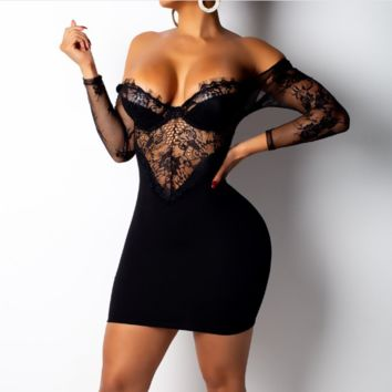 Women's new sexy lace off backpack arm five-point sleeve dress Black