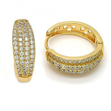 Gold Layered Huggie Hoop, with Micro Pave, Gold Tone