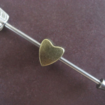 Cupids Arrow Industrial Barbell Ear Piercing Arrowhead Heart Removable Charm