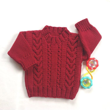 Knit baby sweater - 6 to 12 months - Infant red sweater - Baby clothes - Baby red jumper