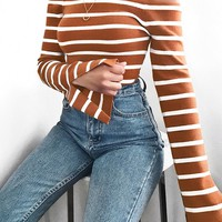 Stripe Off-the-Shoulder Sweater