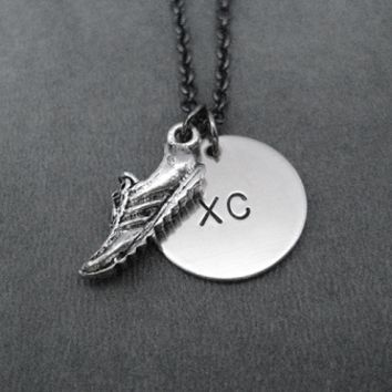 RUN XC Round Charm Necklace with Pewter Running Shoe - Nickel pendant priced with Gunmetal Chain