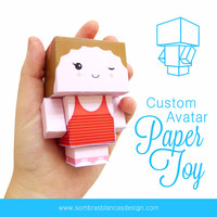 Custom Avatar Paper Toy - The perfect desk buddy and a very original gift for your friends and family! - OOAK printable PDF