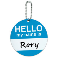 Rory Hello My Name Is Round ID Card Luggage Tag