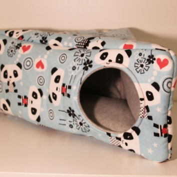 Hedgehog Corner Box, Guinea Pig Snuggle House, Rat Triangle Hammock, Ferret Cage Accessories - Panda with Hearts