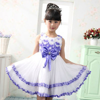 Girls Dance Party Purple Bowknot Dress Pageant Wedding Bridesmaid Dresses