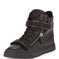 Men's Leather High-Top Sneaker, Black - Giuseppe Zanotti - Black