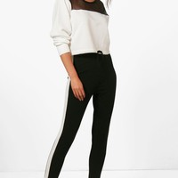 Anthea Contrast Panel Scuba Crepe Sports Leggings | Boohoo