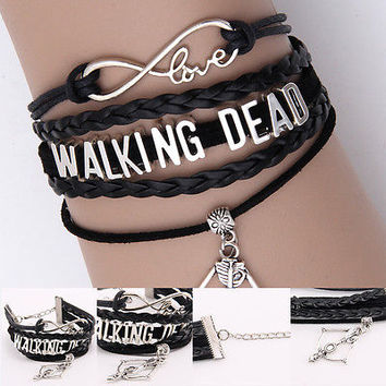 Walking Dead Retro Hand Woven Sword Bows Black Faith Cuff Bracelet Jewelry HOT