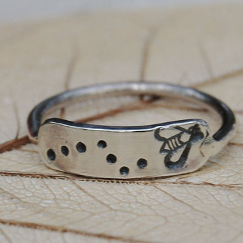 Bee  Sterling Silver Hand Stamped Ring  Custom by lovestrucksoul