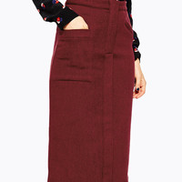 Red Midi Skirt with Front Pockets