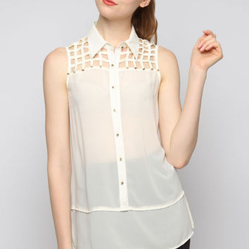 Sleeveless Sheer Cream Button Down Top w/Front Detail