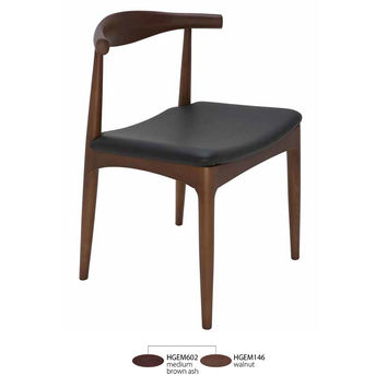 Saal Dining Chair Ash Stained Walnut Frame Black Top Grain Leather Seat
