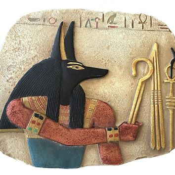 Anubis Holds Symbols of Pharaoh Crook and Flail Small Egyptian Wall Relief 5.6W
