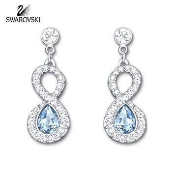 Swarovski Clear & Blue Crystal AFIRE Pierced Earrings Rhodium Plated #5072123