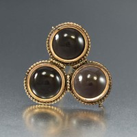 Rose Gold Bead Border Frosted Glass Brooch
