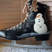 SALE Black Friday Cyber Monday.. Hand Painted Ice Skate Christmas Decoration, Snowman