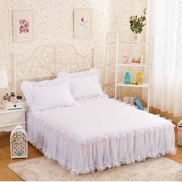 Snow White Lace Bed Skirt Pillow cases 1/3Pcs Wedding Princess Bedding Girls Bedspread Bed sheet For Gifts King/Queen/Full size