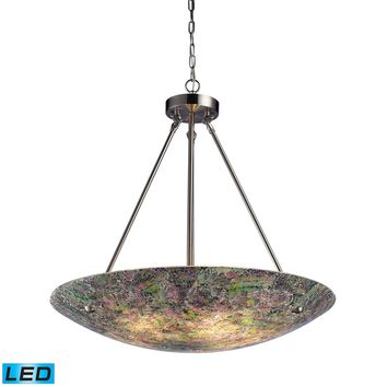 Avalon 5 Light Pendant Satin Nickel Hand Painted Crackled Glass (LED)