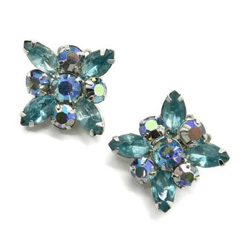 Weiss AB Rhinestone Earrings, Sea Green Rhinestone Silver Tone Clip-ons Signed Weiss Bridal Jewelry