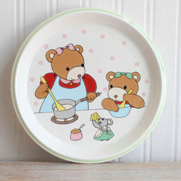 "Vintage Mikasa ""Little Chief"" Bear Family Dinner Plate, Childrens or Kids Plate, Kitsch Cottage Kitchen"