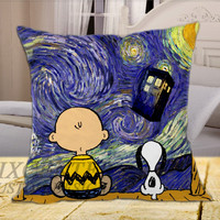 Snoopy The Starry Night on Square Pillow Cover, Pillow Covers, Decorative throw pillows, Throw pillows, Pillow cases, Customize Pillow, size 16 inch, 18 inch, 20 inch by FixCenters