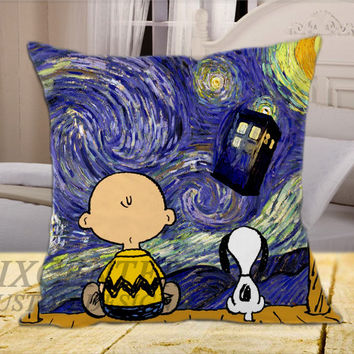 Snoopy The Starry Night on Square Pillow Cover