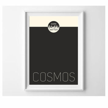 COSMOS - Dark matter 85.4%  typography print Black and Cosmic Latte wall art decor (from US Letter up to A0 size) minimal  science art