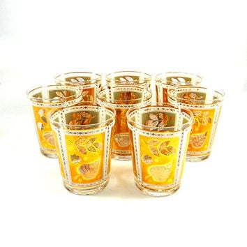 Vintage Cera Cocktail Glasses Set of Eight with 22K Gold Overlay