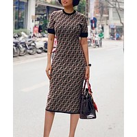 FENDI Fashion Women F Letter Print Short Sleeve Round Collar Knee-Length Dress Coffee