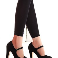 Suedette Pin Buckle Strap Heels in Black - Choies.com