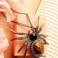 New Retro Bronze Crystal Rhinestone Spider Bead Charm Pendant for Necklace Fast Free Shipping New Hot Selling