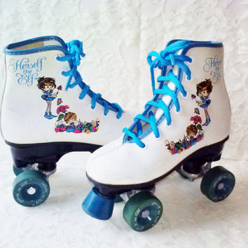 Vintage White Leather Grils Roller Skates Boot Type Herself the Elf New Blue Laces Blue Toe Stops Precision Wheels Great Condition Estate