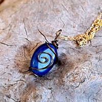 Gold Wire Wrapped Deep Blue Rock Summer Boho Hippie Festival Charm Pendant Chain Necklace