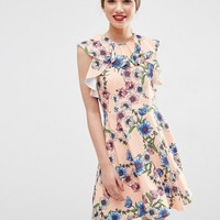 ASOS Ruffle Neck Skater Dress in Pretty Floral Print at asos.com