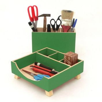 Green Desk Organizer, Green Desktop Organizer, Desktop Set, Wooden Desk set, Office Accessories, Pen holder, School kids desk, Tidy on Desk