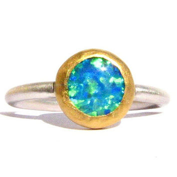 Blue Opal Ring - 24k Gold and Sterling Silver Ring - MADE TO ORDER in your size - Stacking Ring.